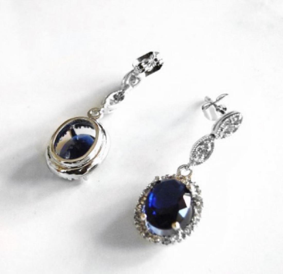 Creation Diamond/Blue Sapphire Ear 3.00Ct 18k W/g Over - 2