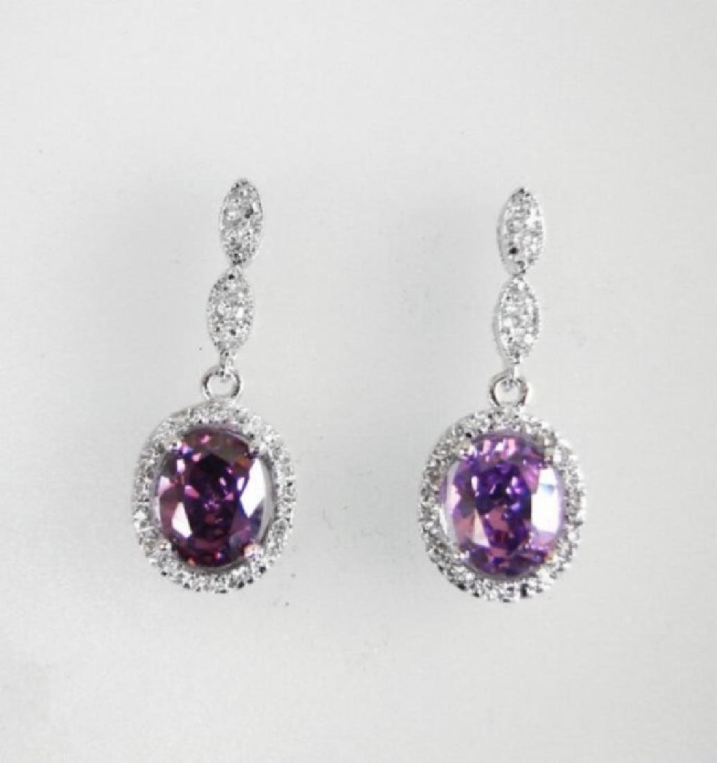Creation Diamond/Amethyst Ear 3.83Ct 18k W/g Overlay