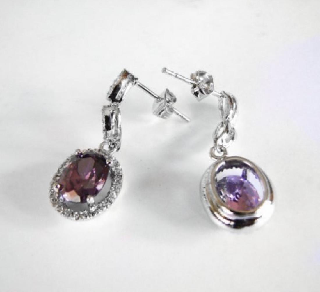 Creation Diamond/Amethyst Ear 3.83Ct 18k W/g Overlay - 2