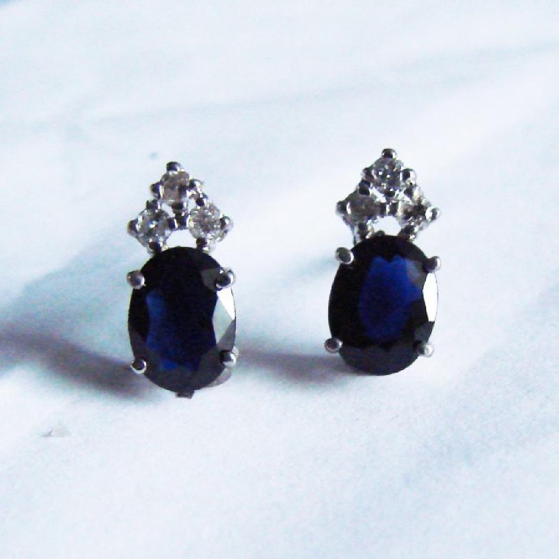 Blue Sapphire Diamond Stud Earrings 2.90Ct 14k W/g - 2