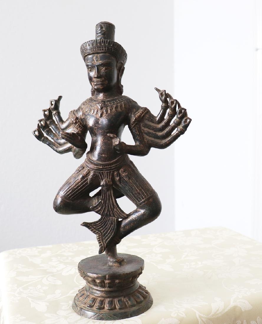 Khmer Angkor,Buddha Brass King Statue 12th Century