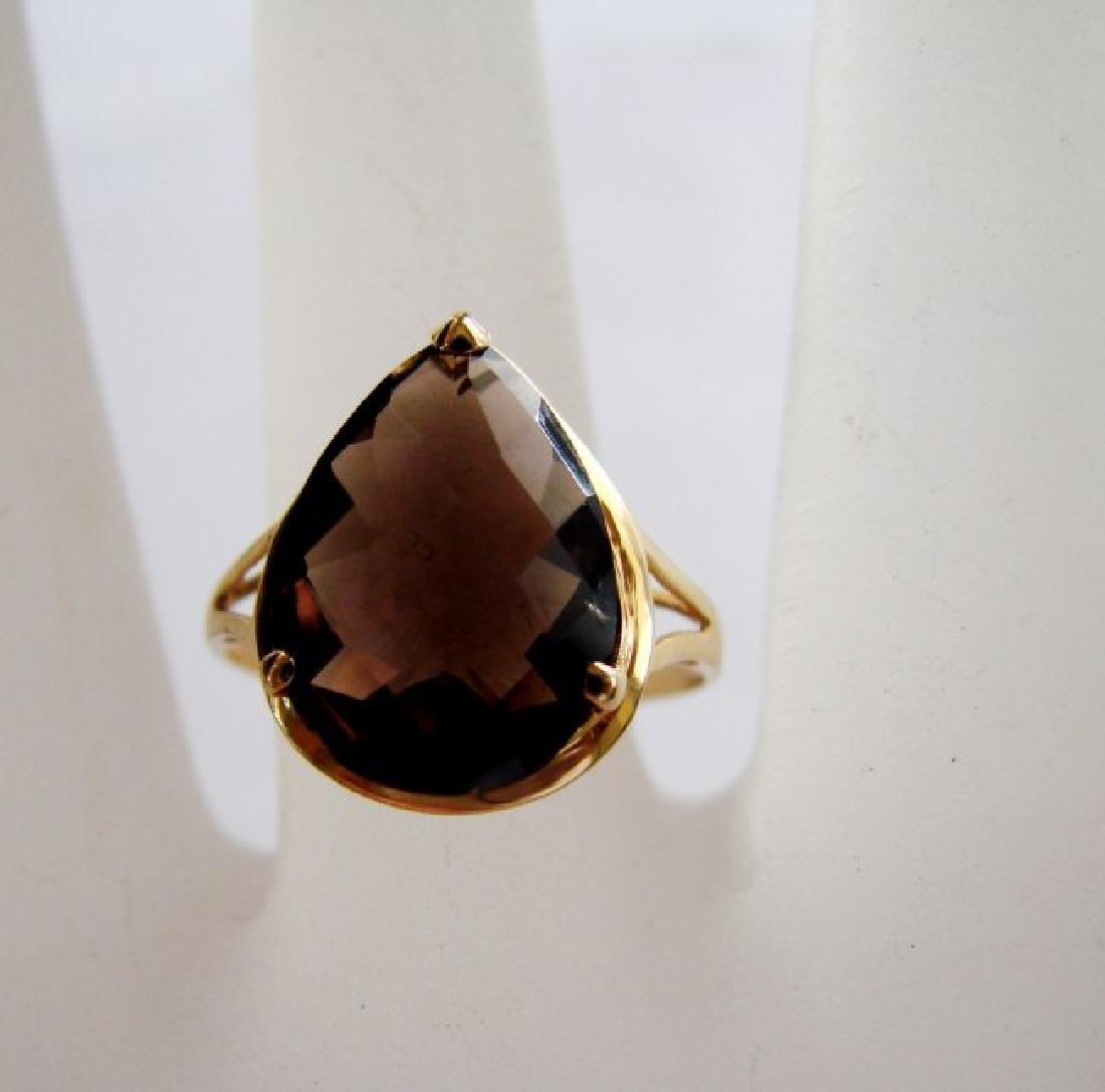 Natural Smoky Topaz Ring 5.35Ct 14k Y/g