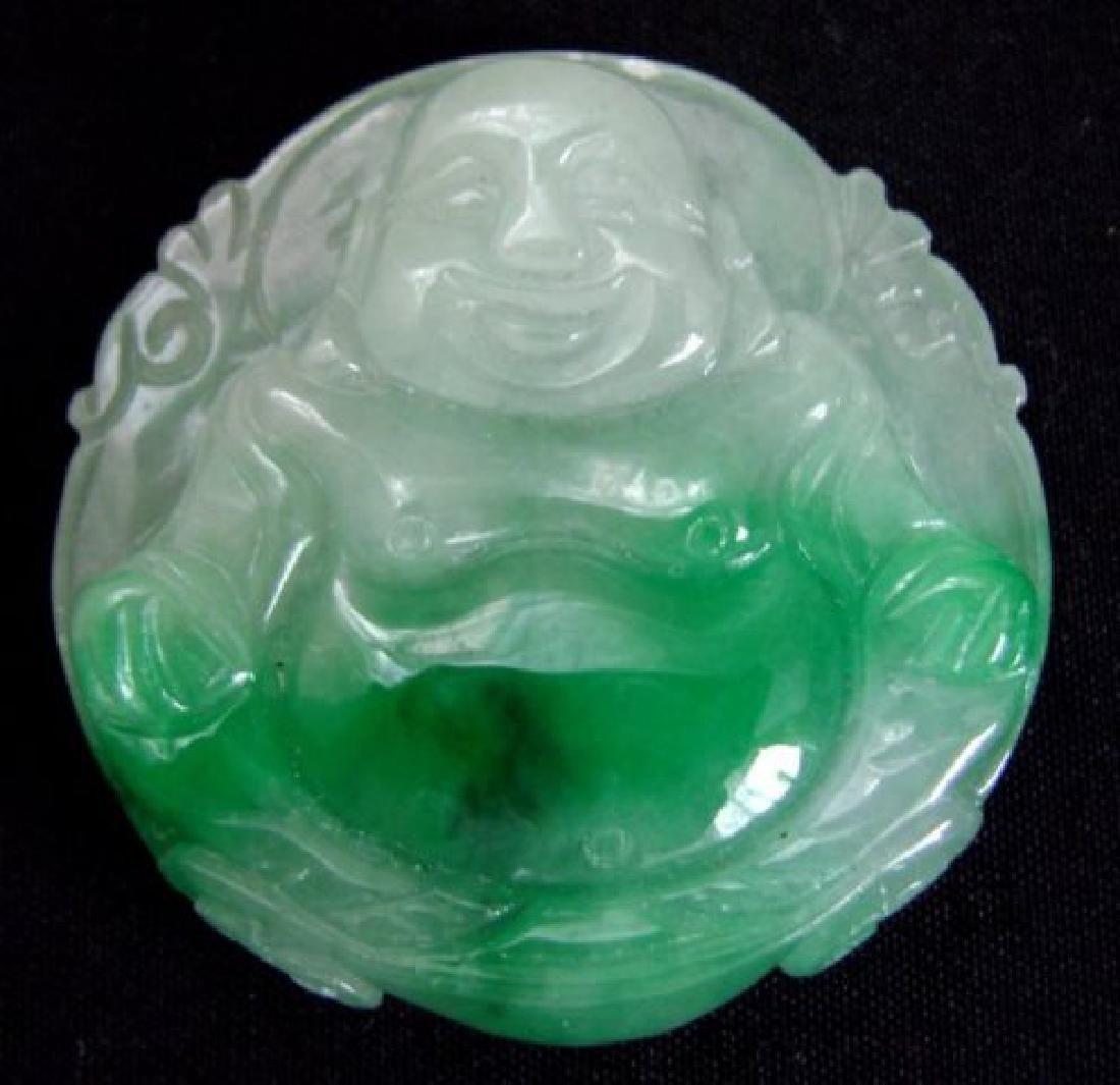 Natural Chinese Jadeite Jade Buddha God Pendant