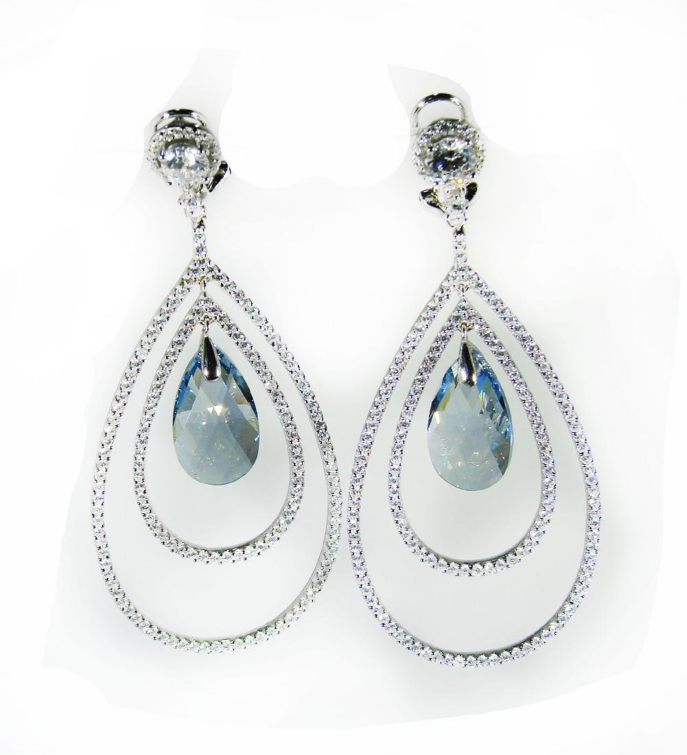 Creation Blue Topaz/Diamond Earrings 8.09Ct 18K W/G