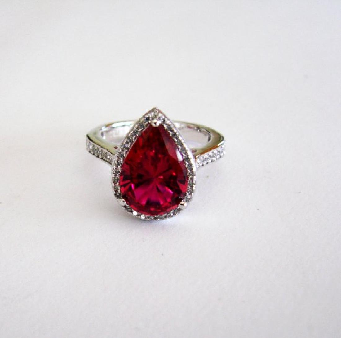 Creation Daimond Ruby Ring 7.16Ct 18k W/g Overlay