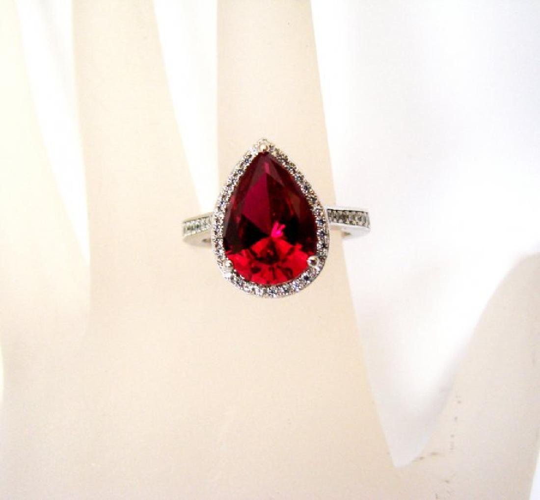 Creation Daimond Ruby Ring 7.16Ct 18k W/g Overlay - 4