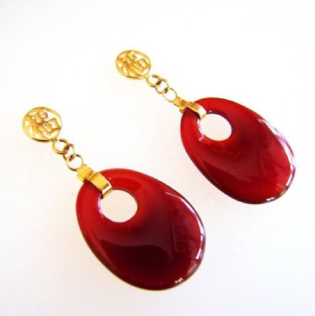 Natural Red Onxy Dangle Earrings 14k Y/g - 3