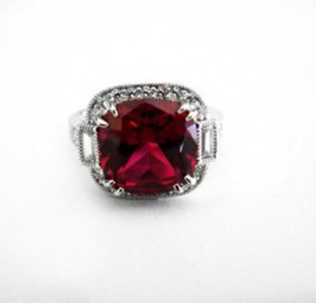 Creation Daimond Ruby Ring 7.61Ct 18k W/g Overlay