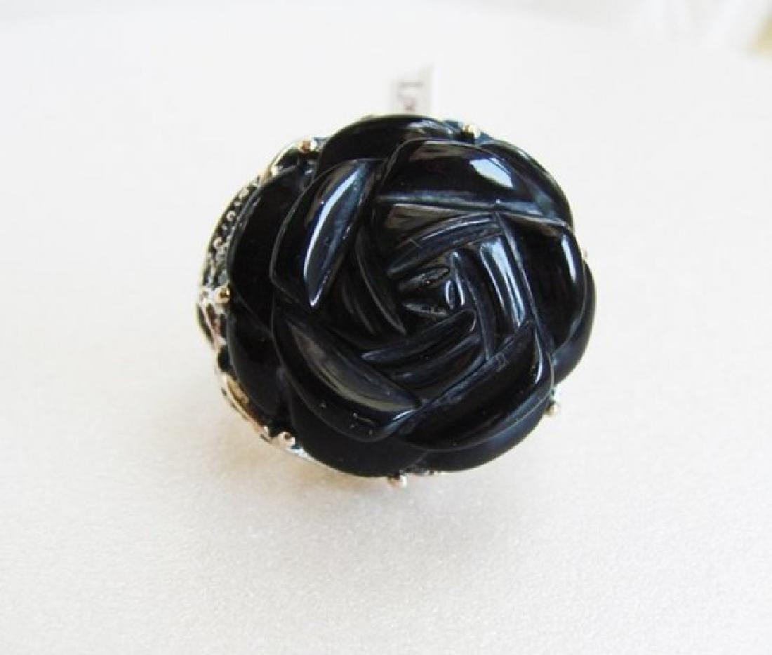 Vintage Black Onyx Carved Rose Design