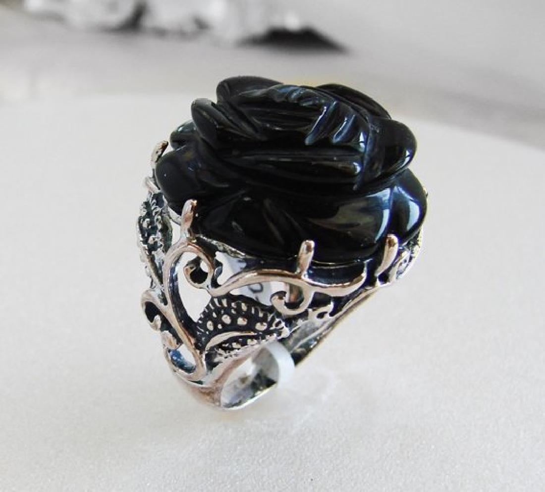Vintage Black Onyx Carved Rose Design - 2