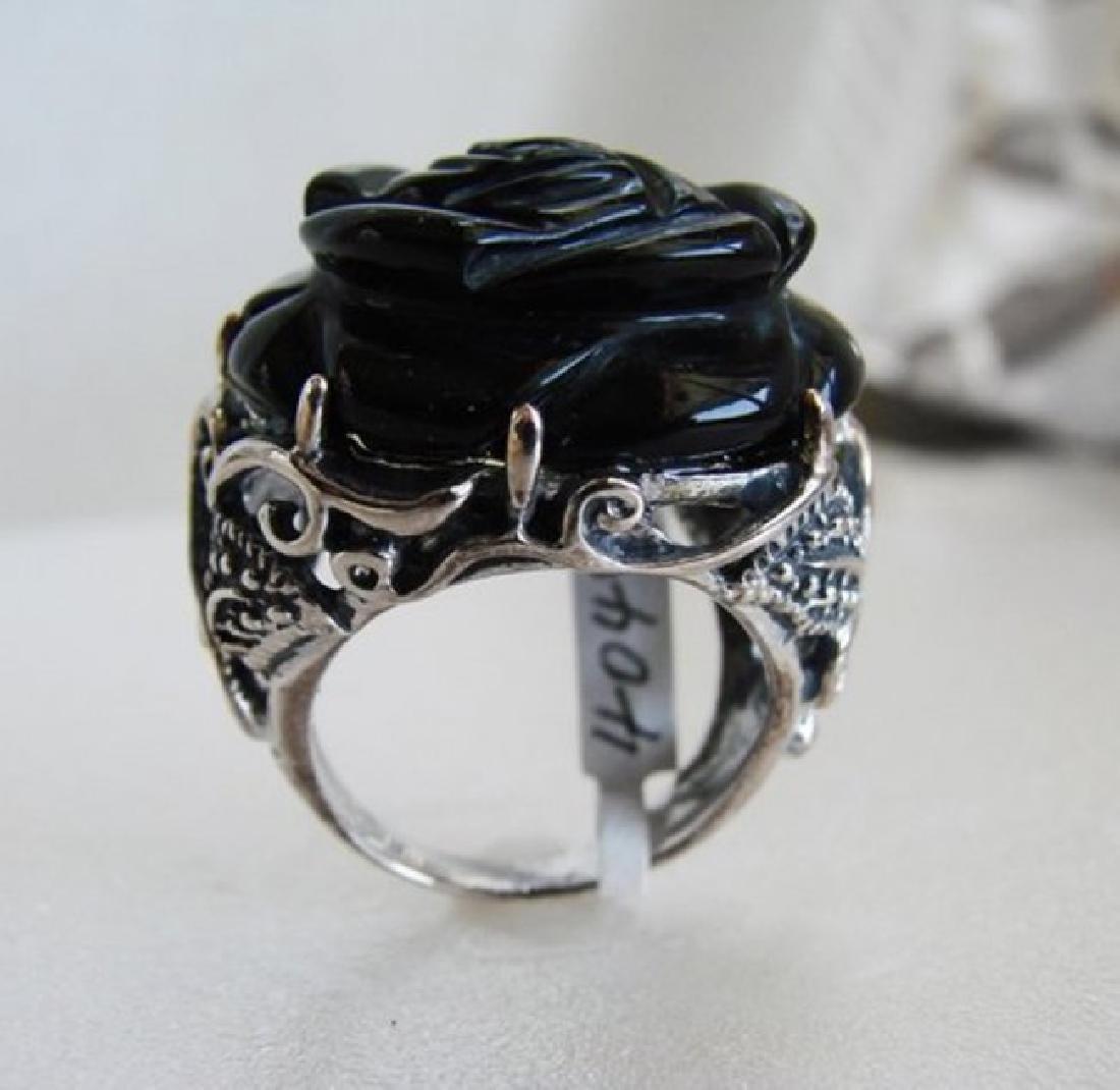 Vintage Black Onyx Carved Rose Design - 3