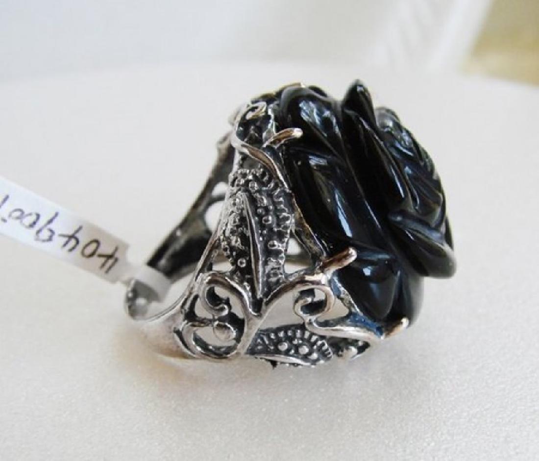Vintage Black Onyx Carved Rose Design - 4