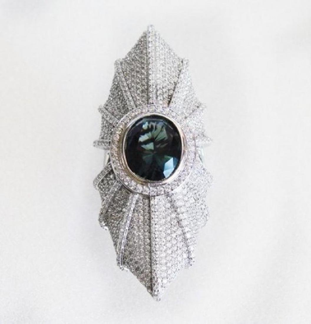 Creation Diamond/Tourmaline 15.95Ct 18K W/g Overlay