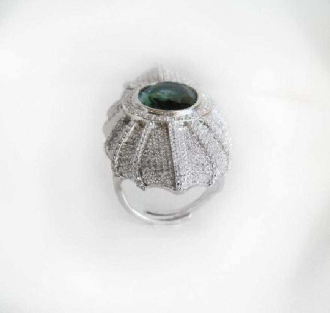 Creation Diamond/Tourmaline 15.95Ct 18K W/g Overlay - 4