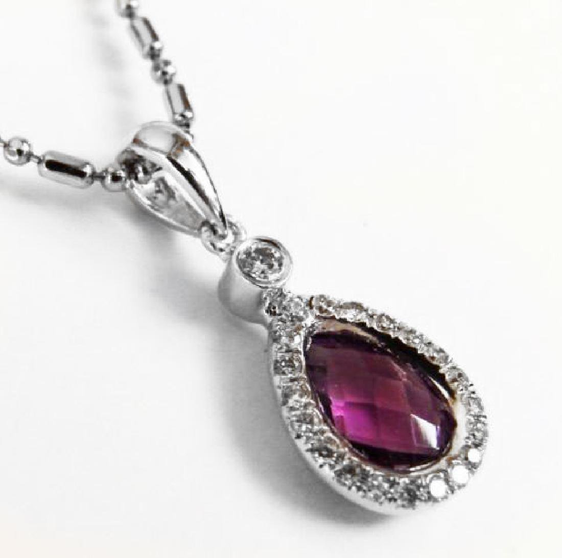 Diamond Amethyst Pendant: 1.46 Carat 14k W/g