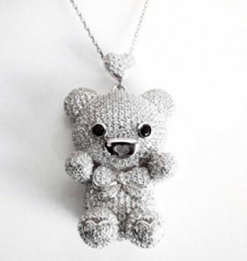 Bear Pendant Creation Diamond 5.95Ct 18k W/g Overlay