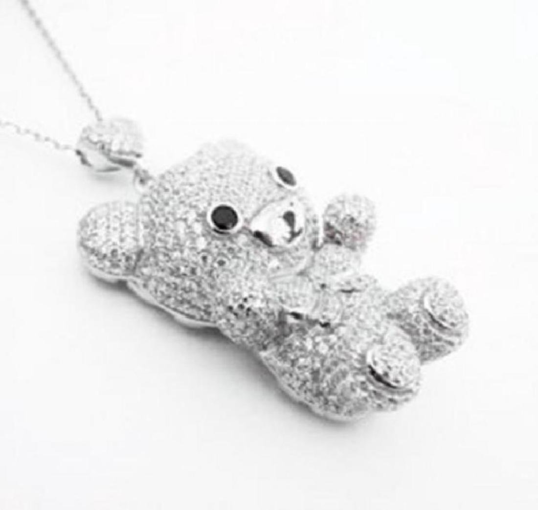 Bear Pendant Creation Diamond 5.95Ct 18k W/g Overlay - 2