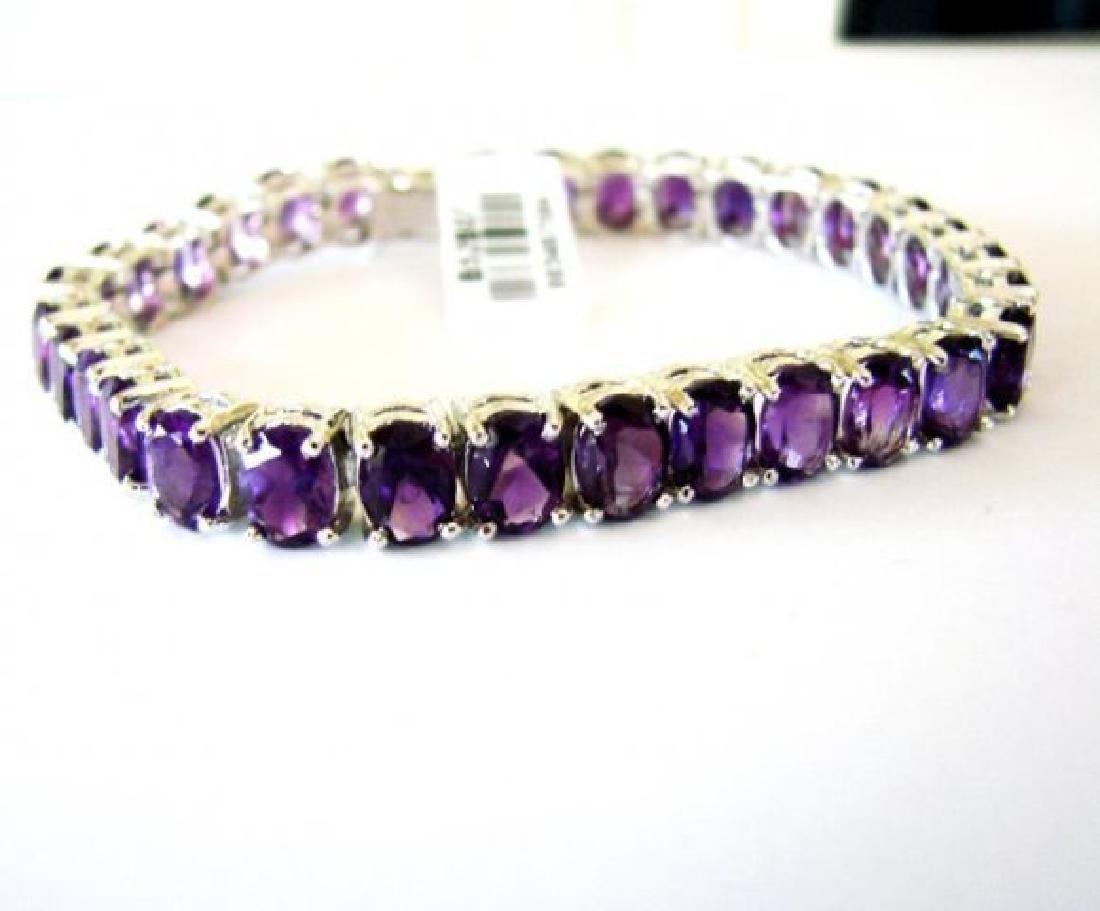 Natural Amethyst Bracelet 37.20Ct 18k W/g Overlay