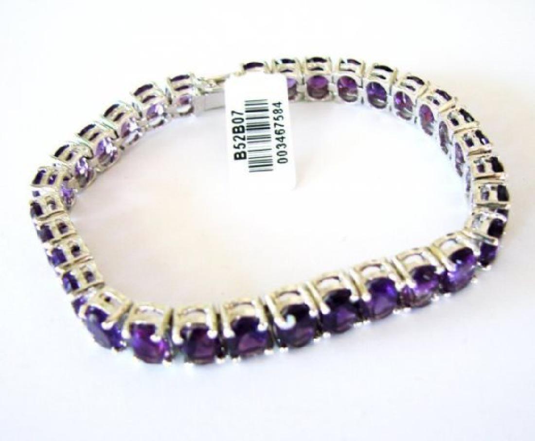 Natural Amethyst Bracelet 37.20Ct 18k W/g Overlay - 2