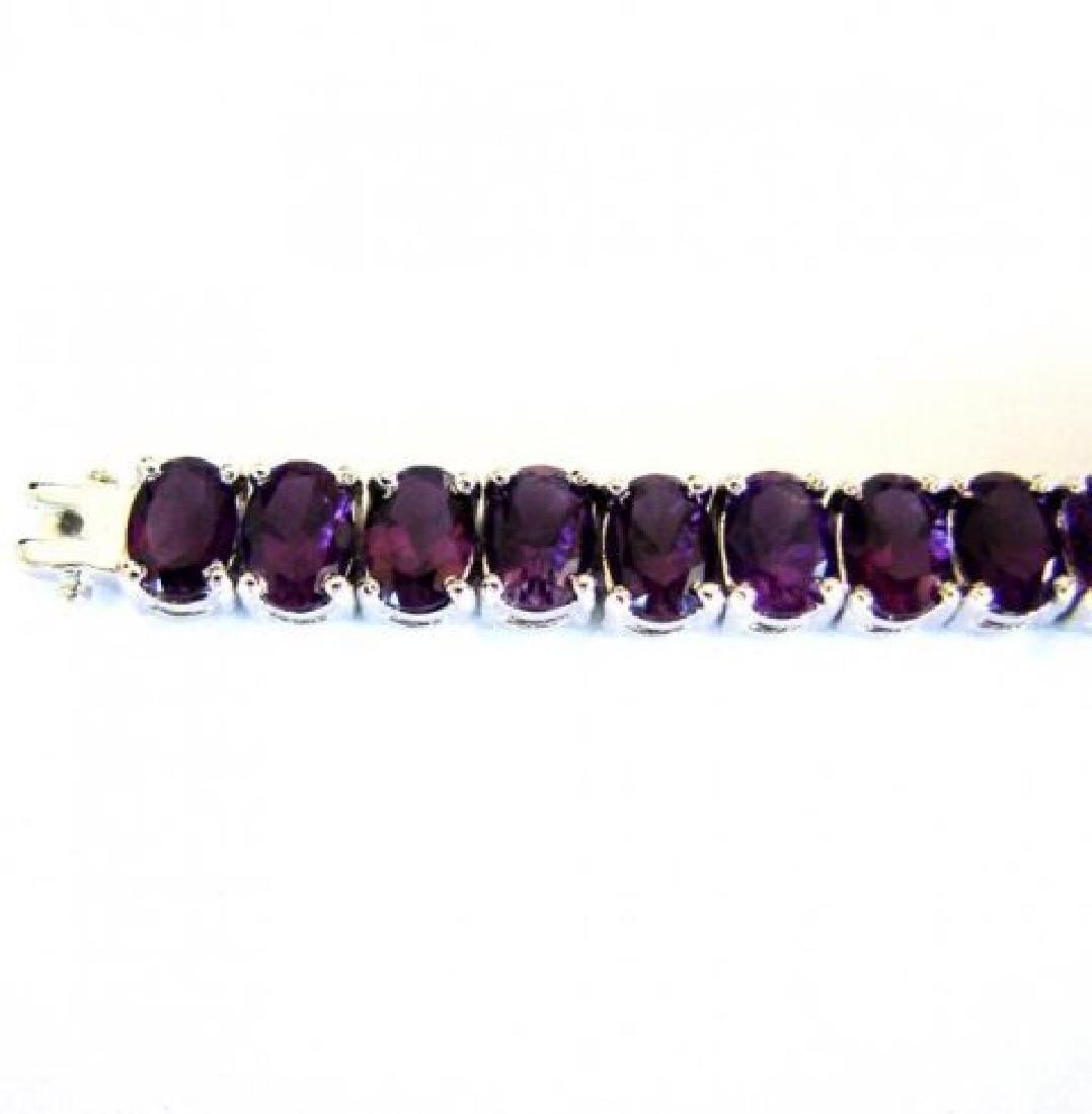 Natural Amethyst Bracelet 37.20Ct 18k W/g Overlay - 3