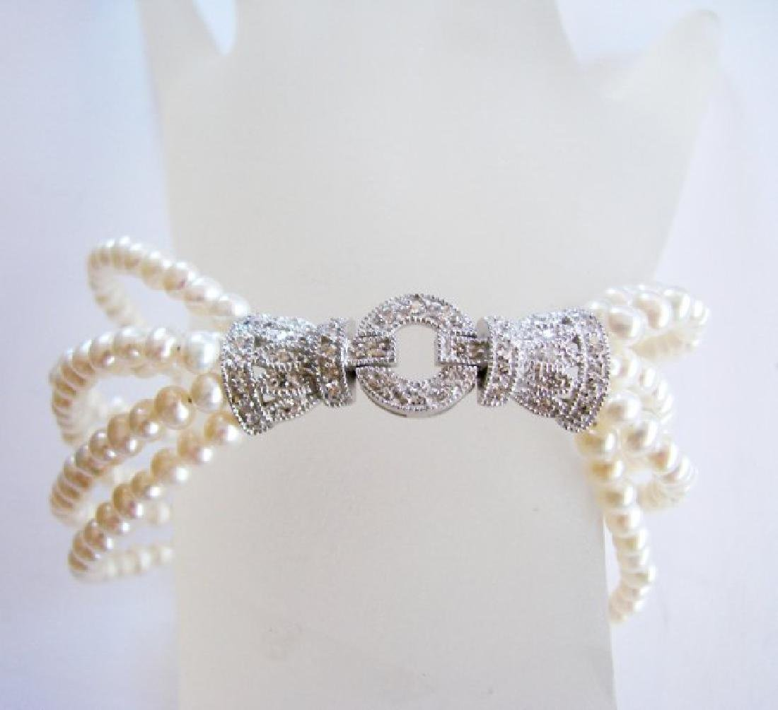 Bracelet Pearl Diamond Creation .29Ct 18k W/g Overlay