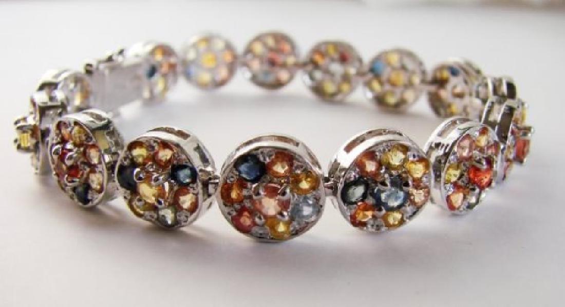 Natural Multi Sapphire Bracelet 16.95CT 18k W/g