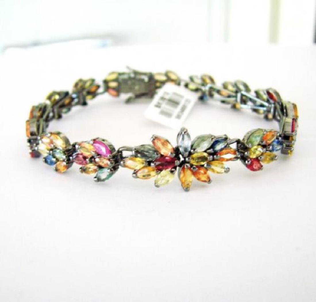 Multicolor Sapphire Bracelet 15.68Ct 18k B/g Overlay