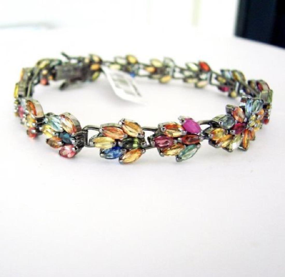 Multicolor Sapphire Bracelet 15.68Ct 18k B/g Overlay - 2