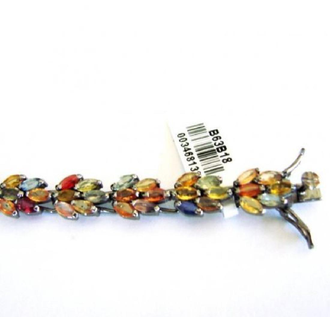 Multicolor Sapphire Bracelet 15.68Ct 18k B/g Overlay - 4