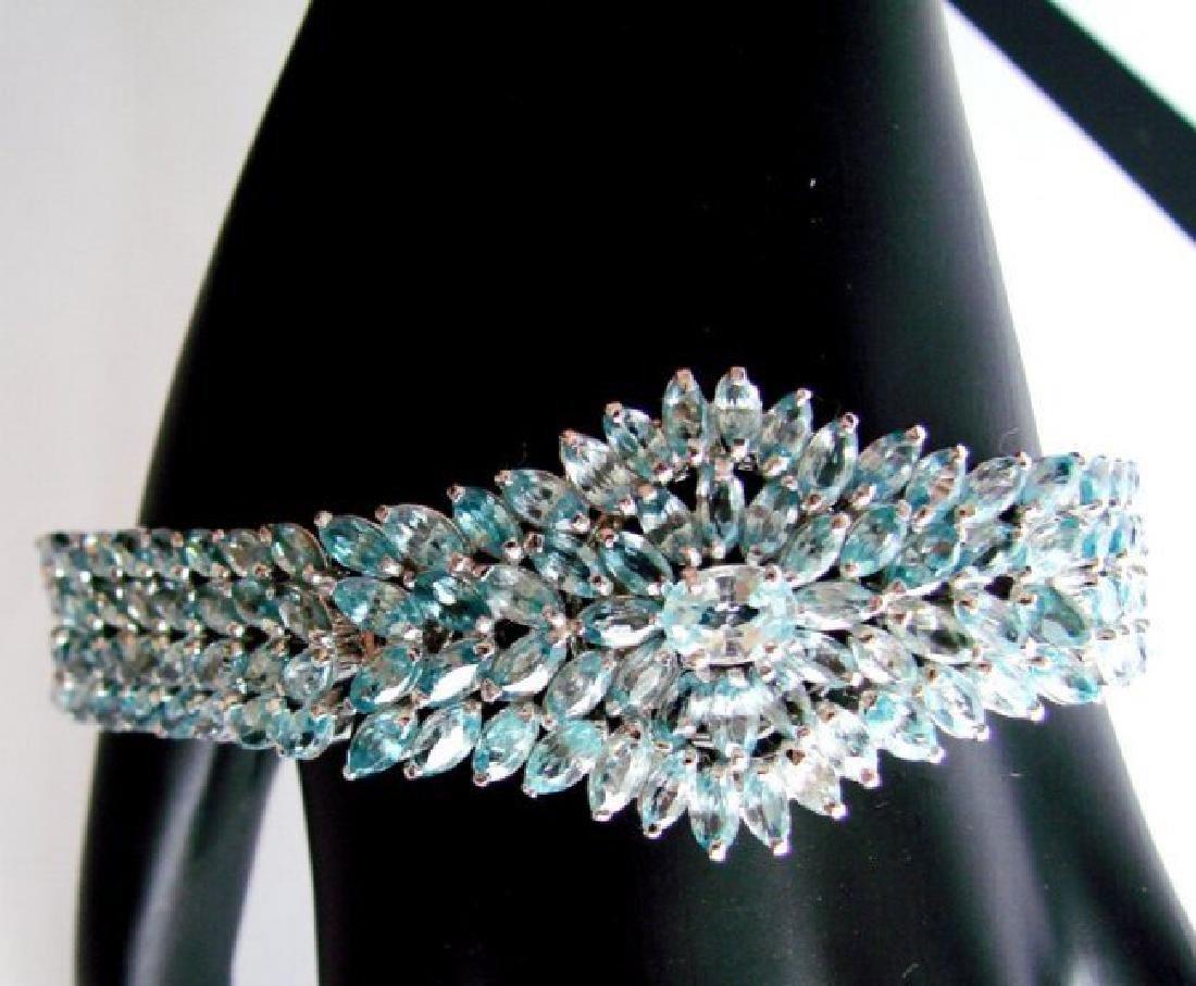Natural Blue Zircon Bracelet 32.14Ct 18k W/g Overlay