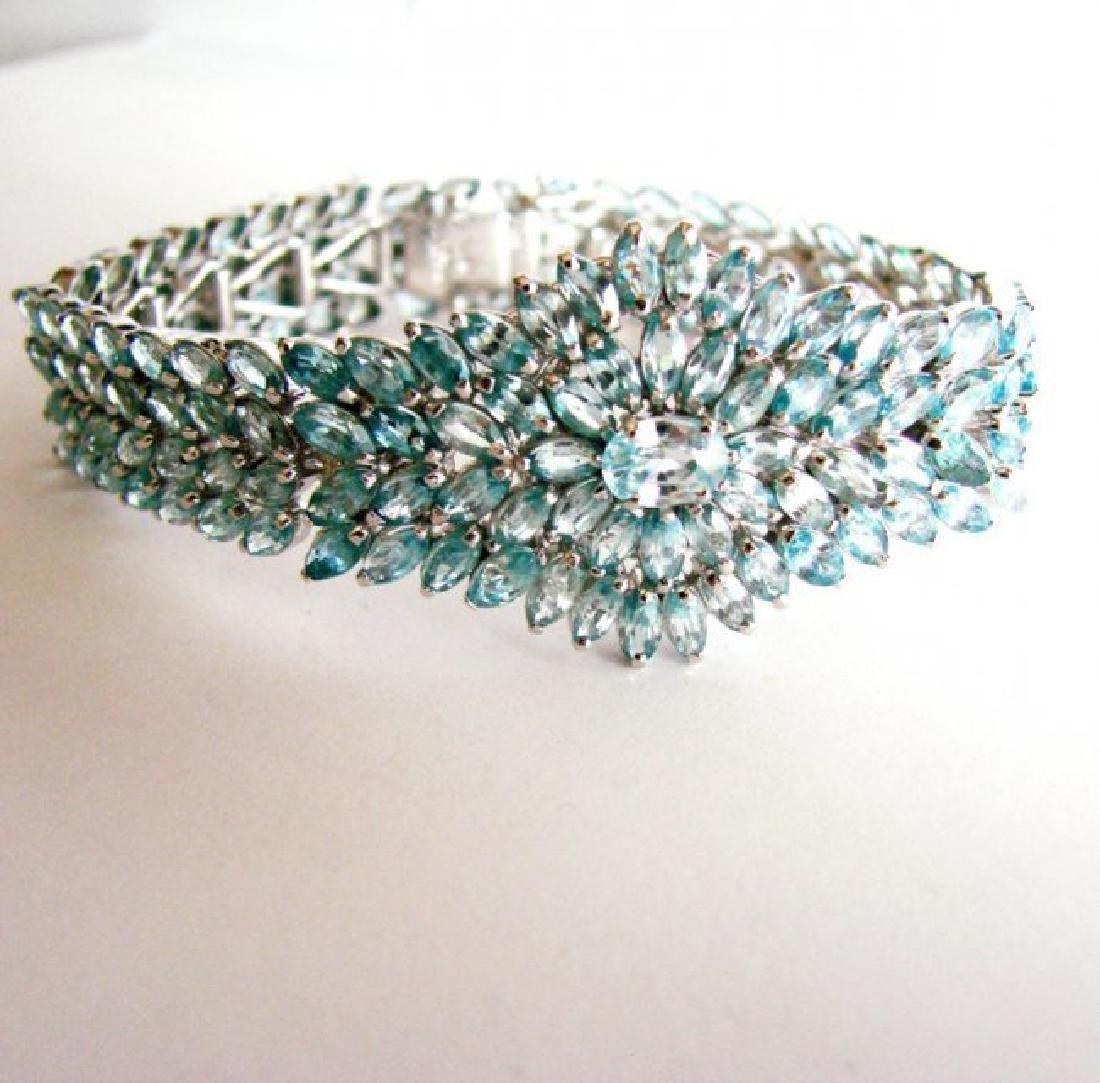 Natural Blue Zircon Bracelet 32.14Ct 18k W/g Overlay - 2