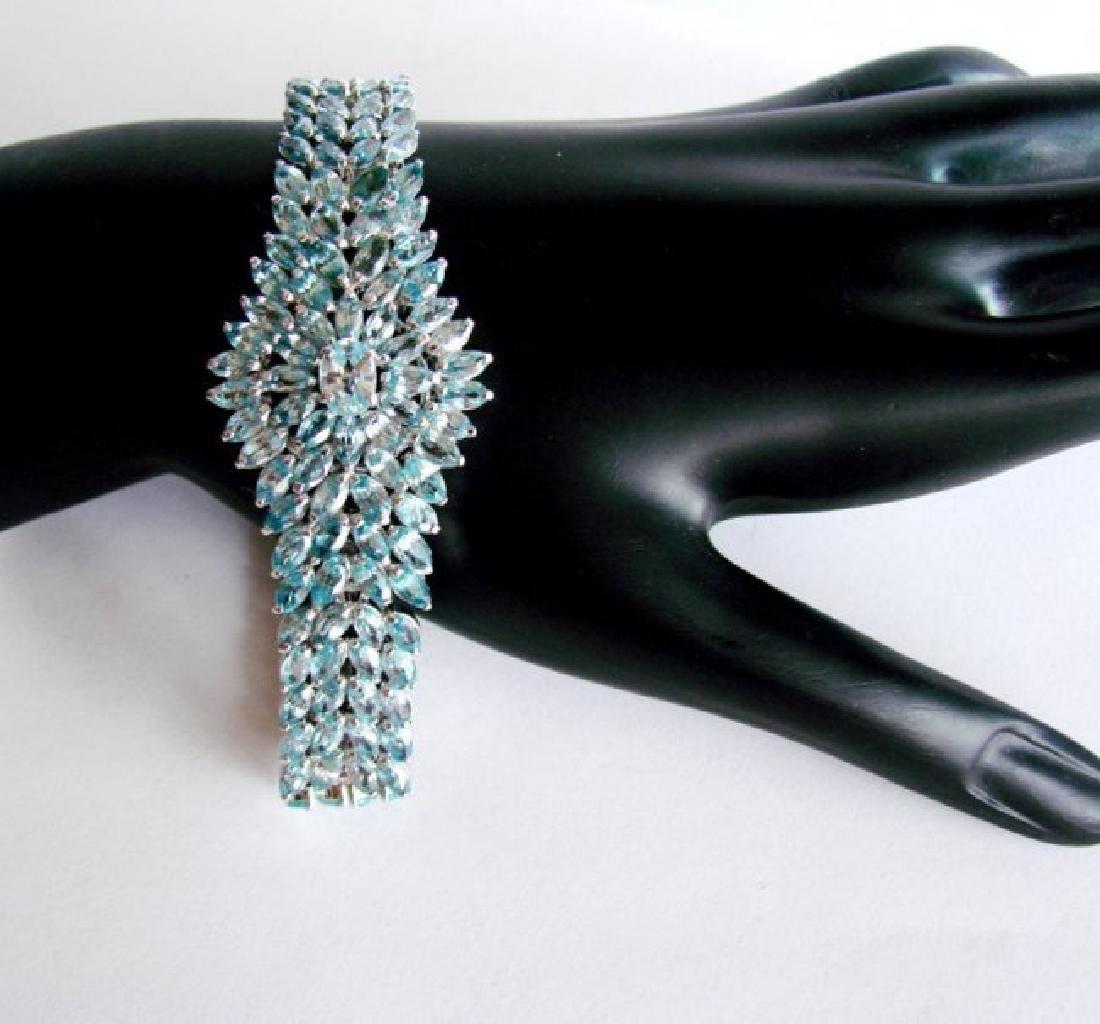 Natural Blue Zircon Bracelet 32.14Ct 18k W/g Overlay - 3