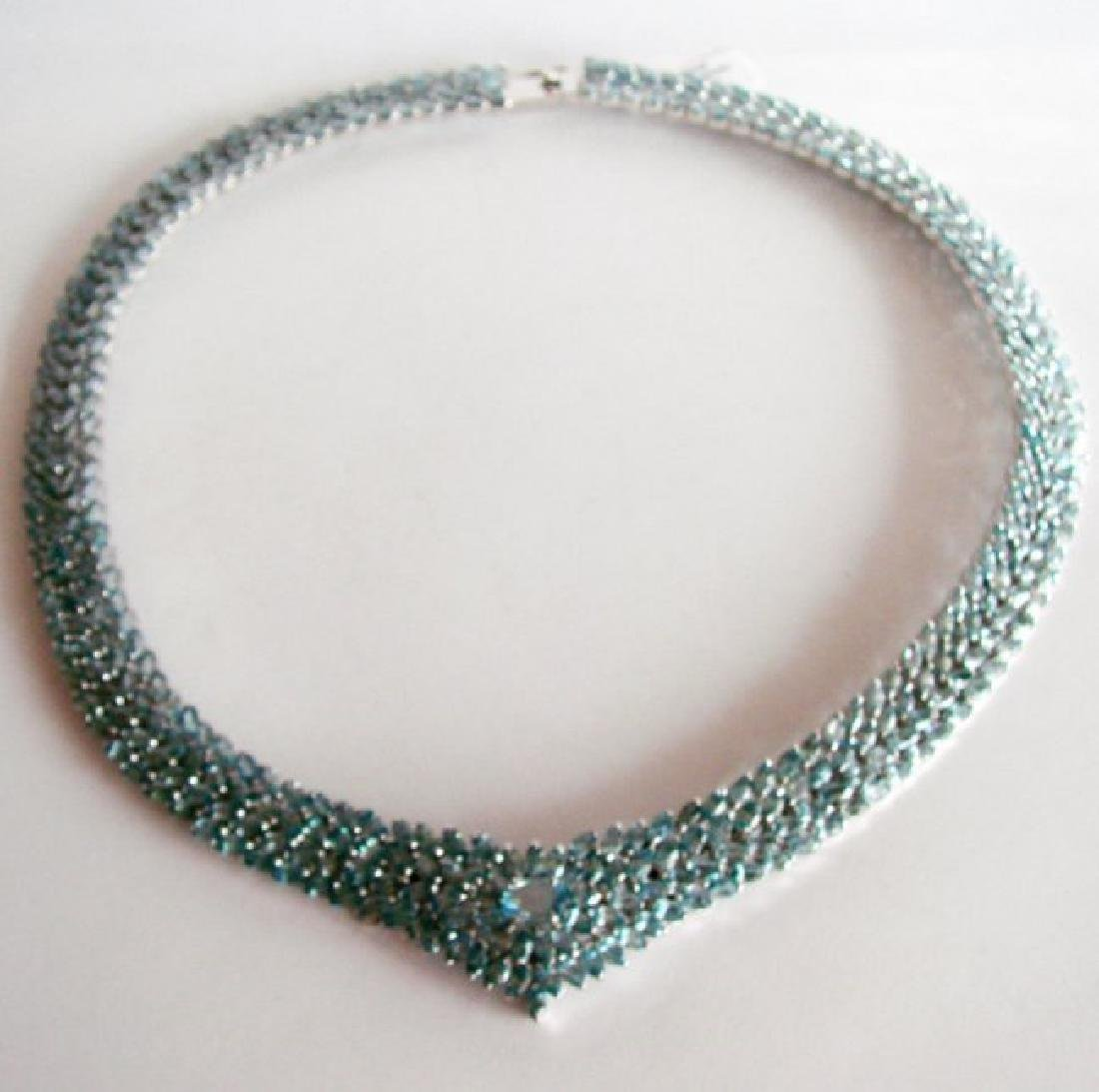 Natural Blue Zircon Necklaces 84.85Ct 18k W/g Overlay