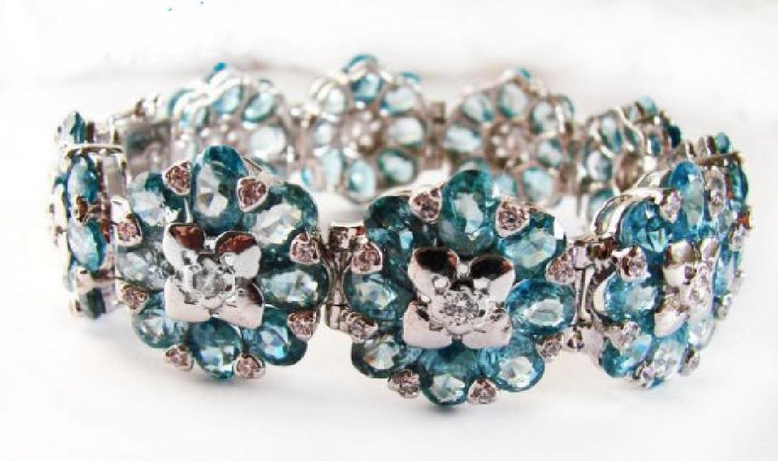 Natural Blue Zircon Bracelet 85.61Ct 18k W/g Over