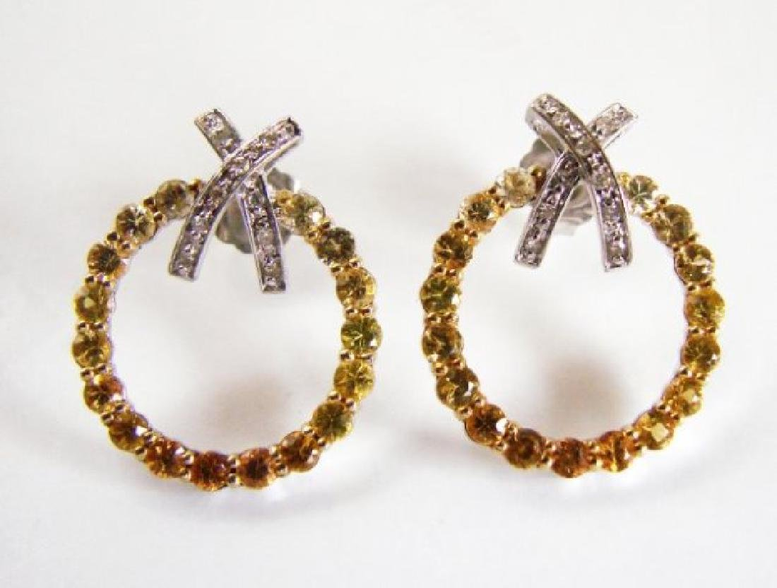 Diamond&multi Sapphire Earrings 3.25Ct 14k Wg