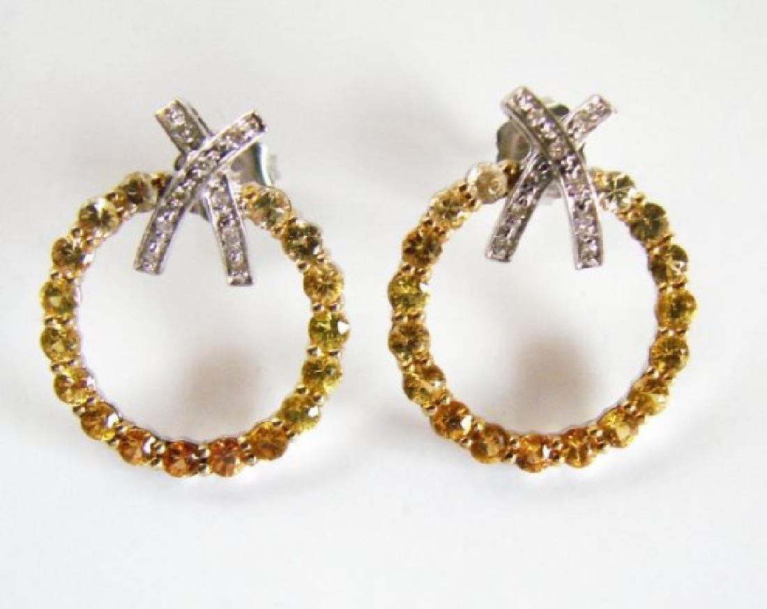 Diamond&multi Sapphire Earrings 3.25Ct 14k Wg - 2