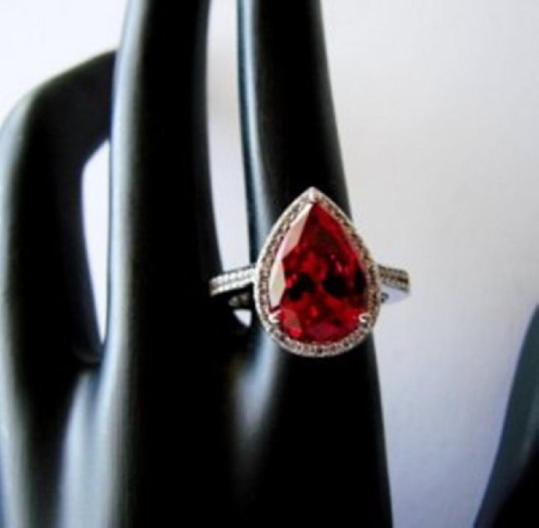Creation Daimond Ruby Ring 7.16Ct 18k W/g Overlay - 2
