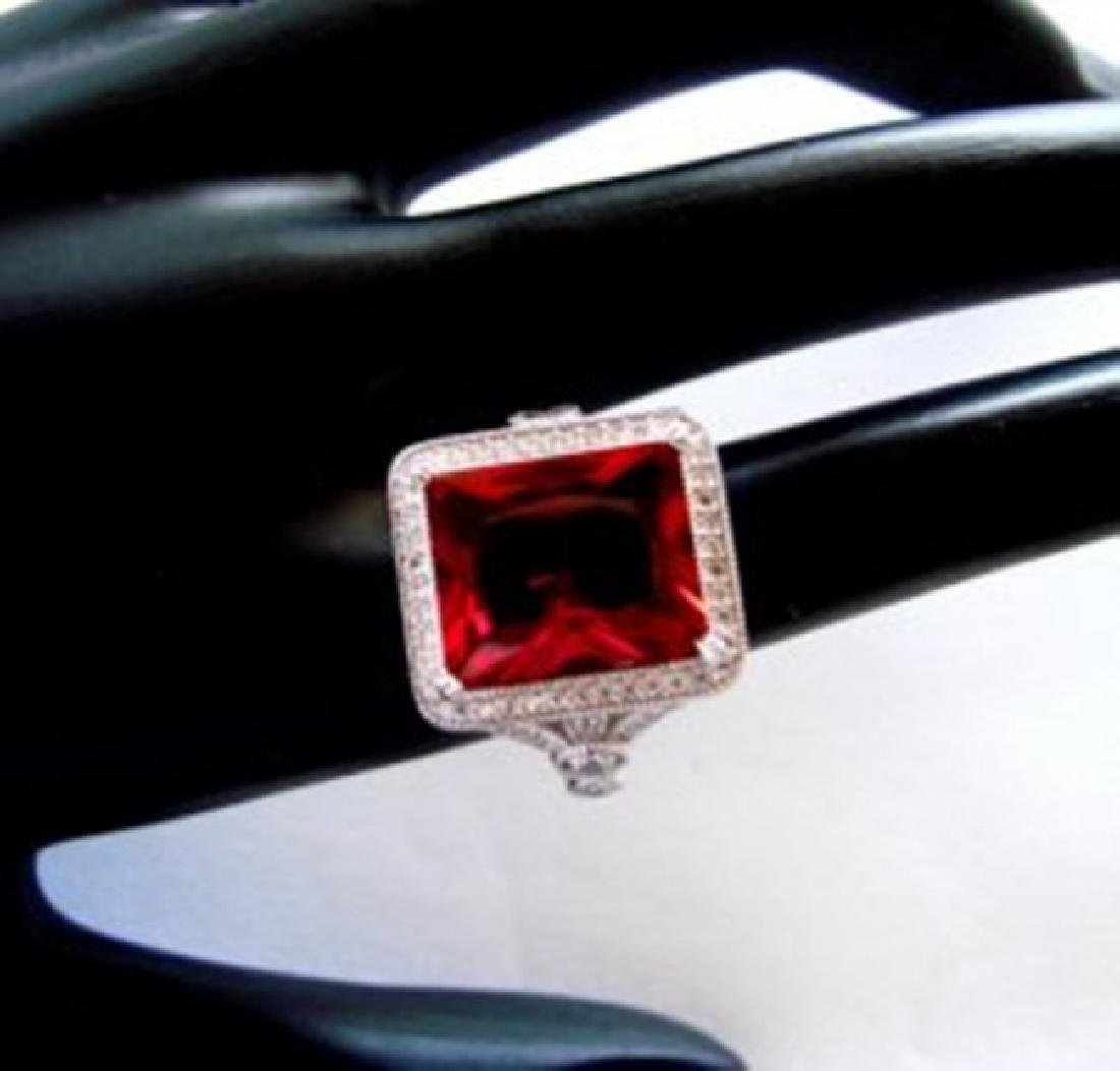 Creation Daimond Ruby Ring 8.61Ct 18k W/g Overlay - 3