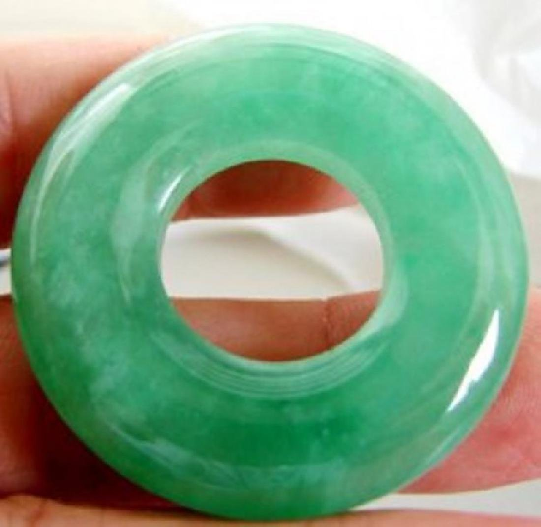 Natural Green Jadeite Jade Donut Pendant - 2