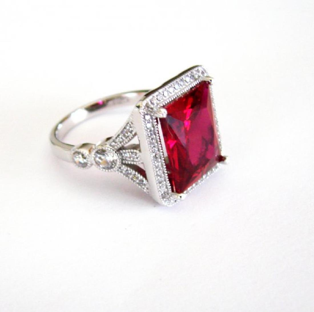 Creation Daimond Ruby Ring 8.61Ct 18k W/g Overlay - 2