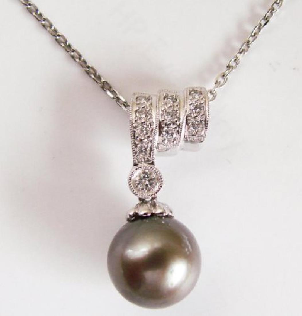 10.3mm Tahitian Pearl Diamond Pendant.20Ct 18k W/g