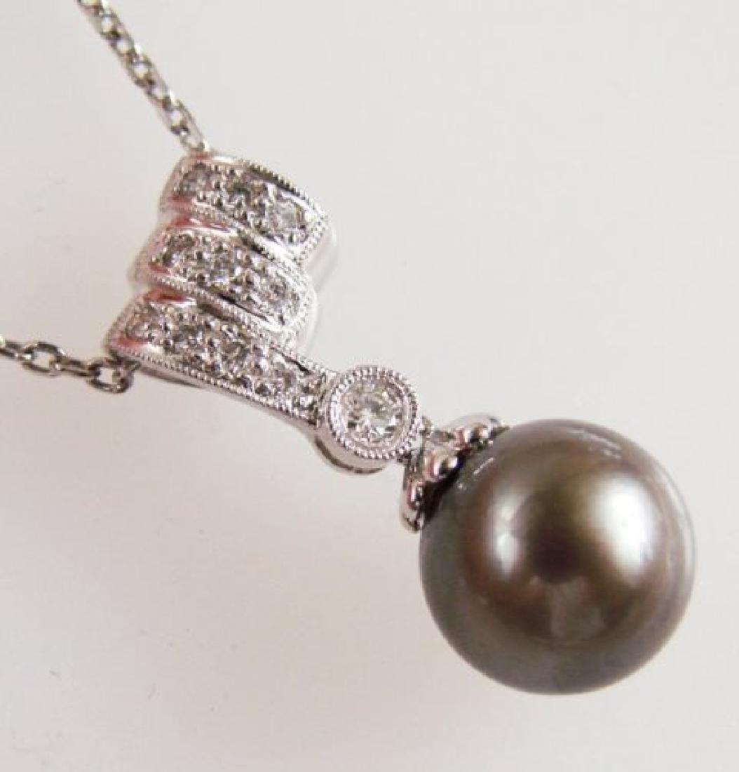 10.3mm Tahitian Pearl Diamond Pendant.20Ct 18k W/g - 2