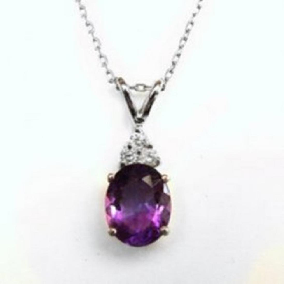 Diamond Amethyst Pendant 3.07Ct 14k W/g