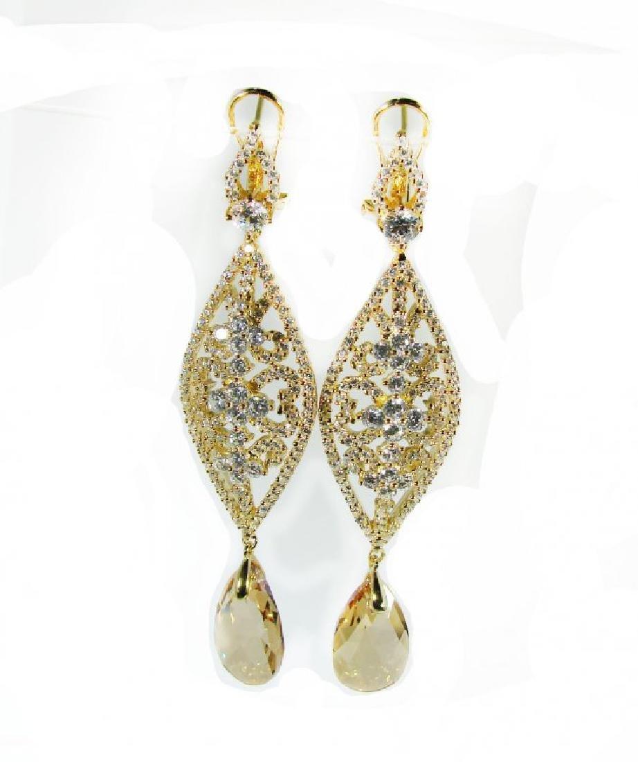 Creation Citrine/Diamond Earrings 9.91Ct 18K Y/G