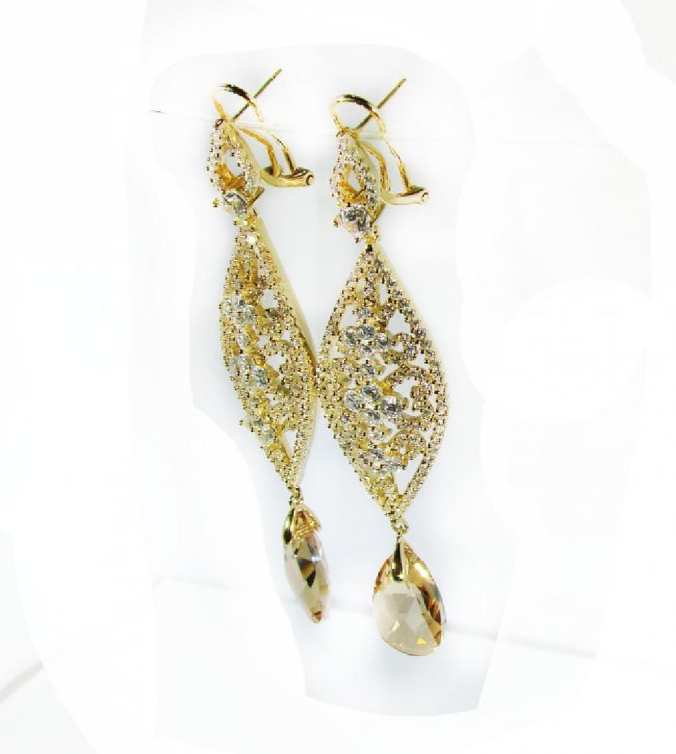 Creation Citrine/Diamond Earrings 9.91Ct 18K Y/G - 2