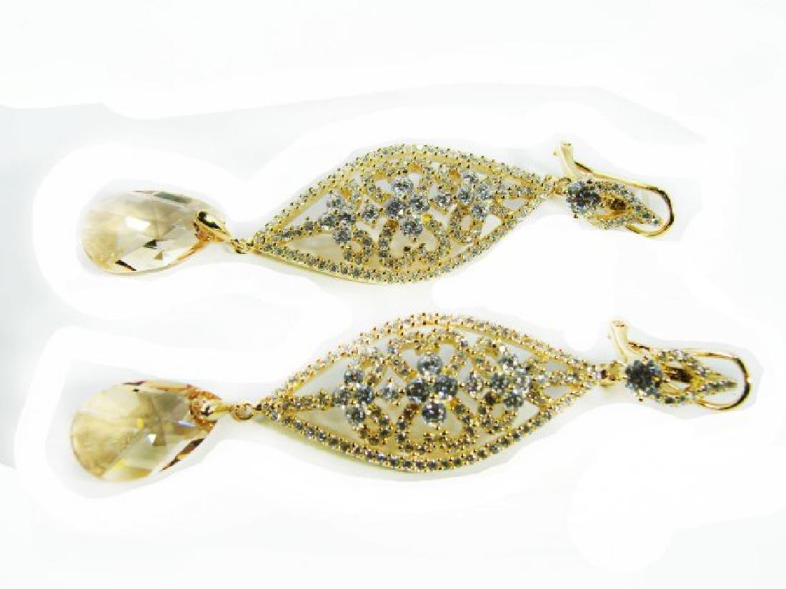 Creation Citrine/Diamond Earrings 9.91Ct 18K Y/G - 3