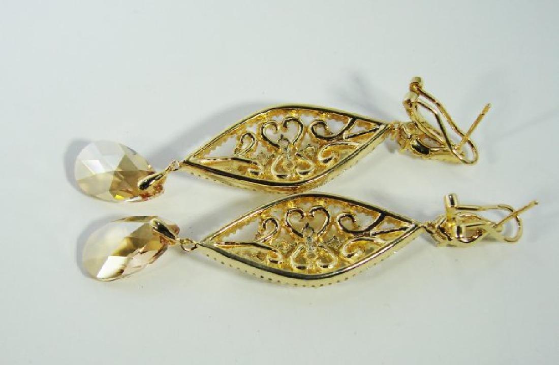 Creation Citrine/Diamond Earrings 9.91Ct 18K Y/G - 4
