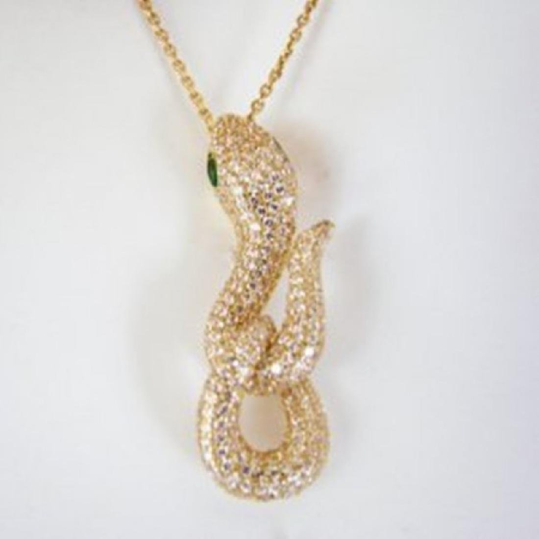 Creation Diamond Snake Pendant 3.28Ct 18k Y/g Overlay