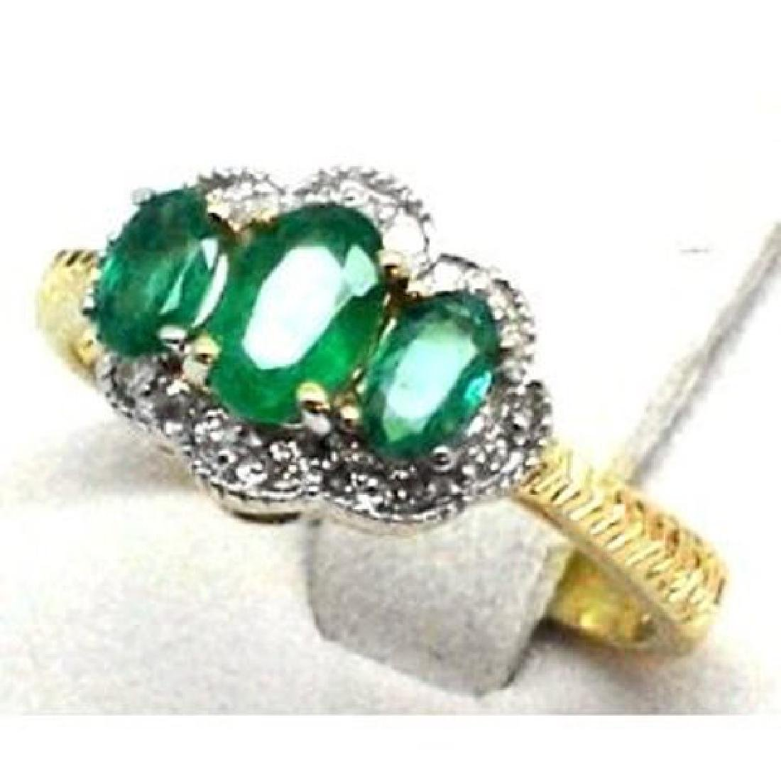 Anniversary Emerald Diamond Ring 1.40CT 14k Y/G