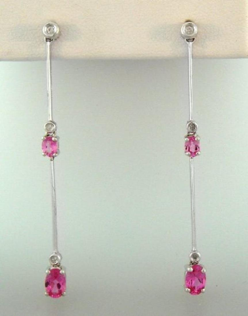 Pink Sapphire Diamond Earring 1.66Ct 14kW/G